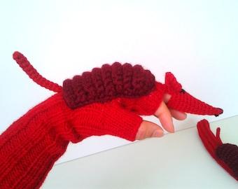 Armadillo Costume Gloves , Soft Wool Mittens , Wrist Arm Warmers , Unisex Fingerless , Arm Cuffs Glove , Red  Animal  Glove , Birthday gift