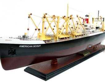 "SS American Scout C-2 Cargo Ship 35"" Handmade Wooden Cargo Ship Model"