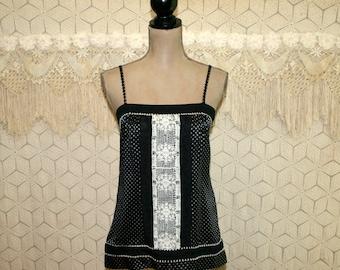 Sleeveless Top Silk Blouse Small Summer Spaghetti Strap Boho Black Print Embroidered Lace Boho Clothing Silk Top Boho Top Womens Clothing