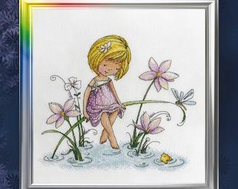 "LanSvit CROSS-STITCH KIT ""Three Wishes"" (D-027) /fantasy fairy sweet girl goldfish gold fish kreuzstich pointdecroix embroidery fairytale"