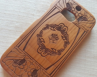 HTC M8 Wood Phone Case | Celtic Flowers | Ethnic Custom Design Natural wood