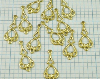 12 Raw Brass Dangles