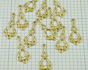 12 Raw Brass Dangles