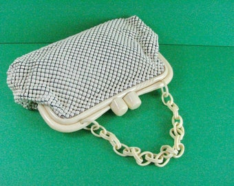 1930/40s Whiting & Davis White Mesh Purse with Celluloid Frame