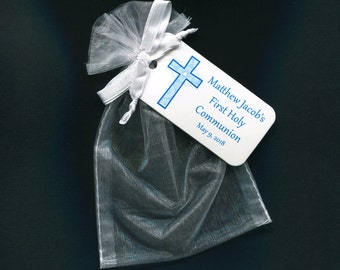 Personalized First Communion Favor Bags - First Communion Tags - Personalized Tags - Blue - Cross - White Organza Bags - 4 X 6 Organza Bag