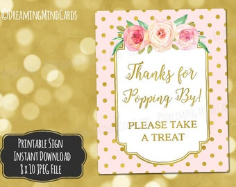 Printable Thanks for Popping By Popcorn Bar Sign 8x10 Pink Watercolor Flowers Gold Polka Dots Baby Shower Digital Download