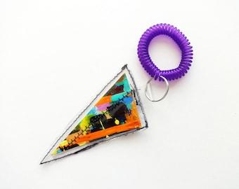 Painted Canvas Key Chain // Bag Accessories // Purse Charm // Wrist Coil // Key Fob // Geometric Key Chain // Bag Accessories // Art Gift