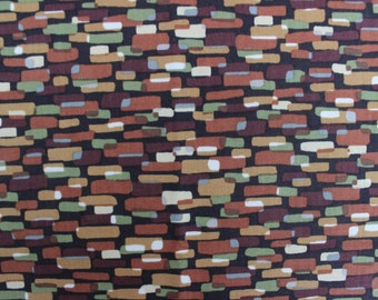 44 X 38 Brown Paisley and Dot Print Cotton Fabric Remnant