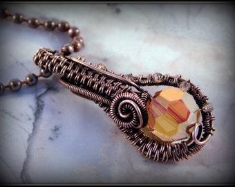 Copper Pendant, Wire Wrapped Necklace, Swarovski Pendant, Copper Jewelry, Wire Jewelry, Jewelry Handmade, Unique Gift,Antiqued Copper