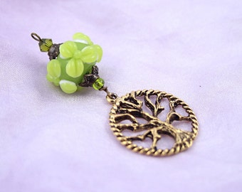Blessingway bead - Golden Young Leaves Tree of Life - Mother Blessing bead, mama goddess