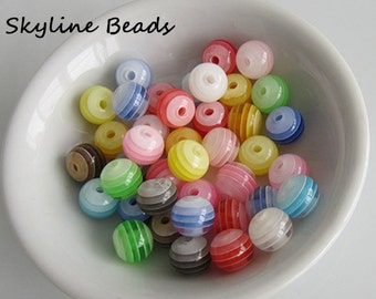 40 Bright Colorful, Striped, Round Acrylic Beads - 8mm