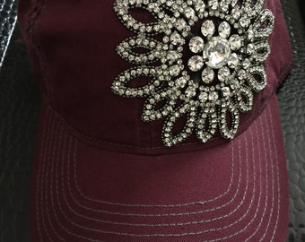 Womens baseball hat, Rhinestone distressed maroon baseball cap, womens trucker hats, distressed baseball hat, bling baseball hats