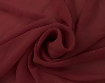 BURGUNDY #1 Solid Hi-Multi Chiffon Washed Fabric by the Yard - Style 501