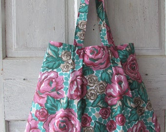 Shoulder Bag, tote Handmade fabric bag shopping bag flower bag special yimmeke price
