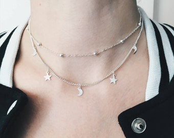 Moon & Star Layered Choker Necklace | Crescent Moon and Star Necklace | Dainty Minimalist Simple Necklace | Boho Necklace | Gift Idea