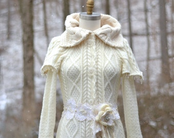 Fantasy art to wear sweater COAT- Eco friendly up cycled refashioned clothing in size Small/Medium. Ready to ship