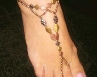 Egyptian tri colored metal Barefoot Sandals