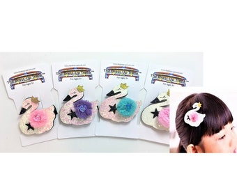 Our Hairclips_Swans with Color Bows