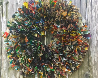 "Comic Wreath, 20"" Paper wreath, Vintage DC Comic Wreath, Home Decor"