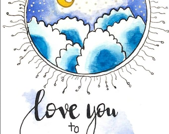 Love you to the Moon, Watercolor painting, print