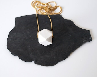 Faceted necklace, Porcelain, Ceramics