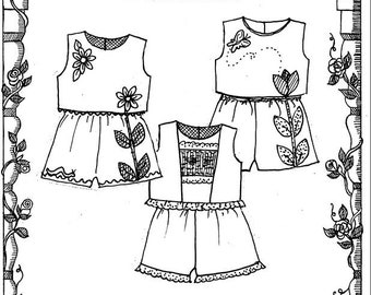 Shorts Pattern / Top and Shorts / Smocked  / Girls  / Appliqué / Pammys Playclothes  by Primrose Lane