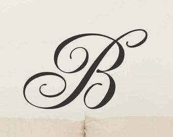 Monogram Wall Decal Single Letter Wall Decor Initial Wall Decal Removable Decoration Vinyl Letters Cornhole Board Decal Sticker 12 inch 12rn