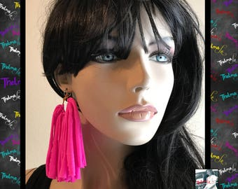 Hot pink earrings,pink earrings,pink fringe earring,fringe earrings,statement earrings,handmade earrings