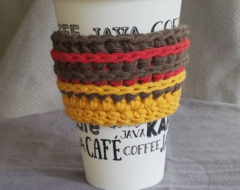 To go cup sleeve / hot cup jacket/cup holder// fall colors// gold red brown// green gift// ready to ship