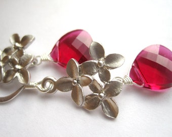 Dark Red Swarovski Crystal Earrings, Ruby Red Teardrop Earrings, Silver Orchid Earrings
