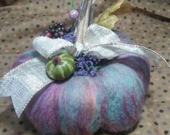 This is a gorgeous purple needle felted pumpkin with a real pumpkin stem