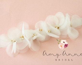 Ivory Wedding Sash, Ivory Bridal Sash, Ivory Wedding Belt, Bridal Belt, Ivory Organza Flowers - BHLDN Inspired