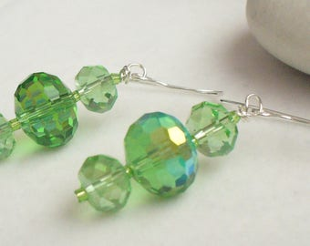 Green Glass Drop Earrings, Handmade Beaded Earrings, Green Dangle Earrings, Dressy Earrings, Christmas Jewelry, Spring Jewelry, Gift for Her