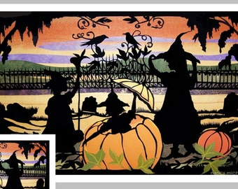 Three Witches Vintage Style  Halloween Card , Graveyard, Crows