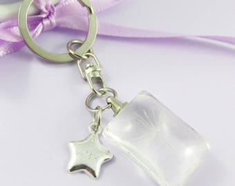 Resin I Wish Dandelion Wishing Star Charm Keychain Keyring Swivel Bag Tag 80mm