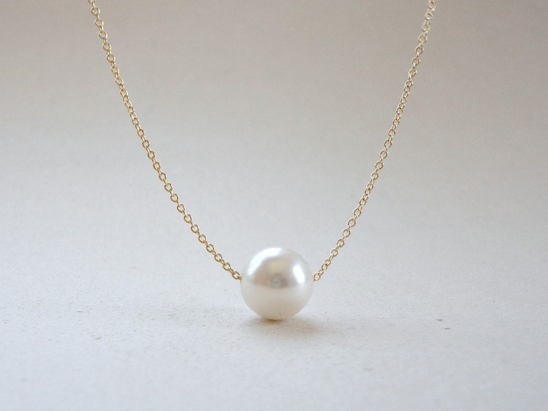 Single pearl necklace floating pearl necklace bridal pearl zoom aloadofball