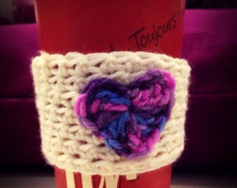 Pink Purple and Blue Heart Cup Cozie, Crochet Cup Cozy, Heart Bottle Cozy, Handmade Cup Bottle Cozie