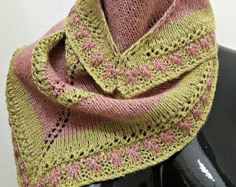 Raspberries and Lime Eyelet and Slip Stitch Triangular Scarf Pattern