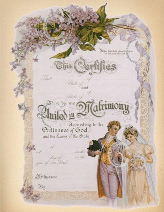 Vintage Marriage Certificate Digital Image Clip Art Cardmaking