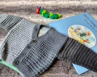 Block Color Cardigan - 6-9Months. 100% New Zealand Wool