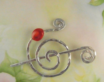 Silver Shawl Pin/Brooch Hand Formed Fancy Spiral with Genuine Bamboo Coral