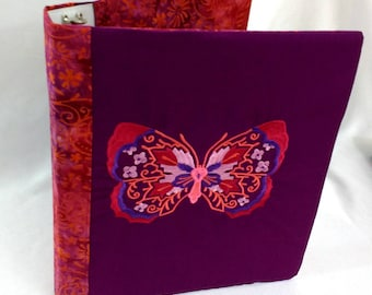Fabric Covered 3 Ring Binder Journal Notebook School Folder Stationery Embroidered Cover Recipe Book Organizer Embroidery Butterfly Batique
