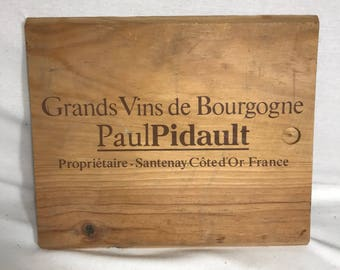 Large wooden plate Paul Pidault France Vintage Burgundy wine