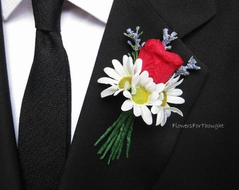 Daisy Rose Boutonniere with Lavender, Wedding Flowers for Groomsmen, Spring Summer