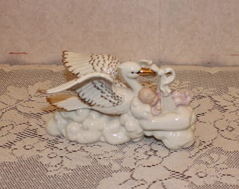 Lenox Our New Arrival Stork and Baby Figurine - Girl
