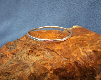 Solid Argentium Sterling Silver Bangle Bracelet with Random Hammered Texture