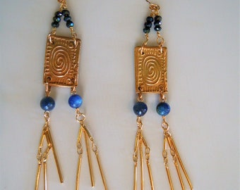 Long dangle style antique chic handmade blue kyanite and 14 k gold.