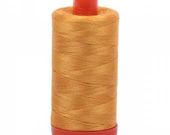 Orange Mustard Aurifil Mako Cotton Thread Color 2140 (Orange Mustard), 50 wt, 1300m, 1 spool