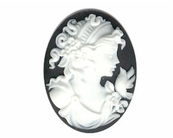 classic Resin cameo black and white 40x30mm lady bird cameo wedding favor supply scrapbook craft finding 155a