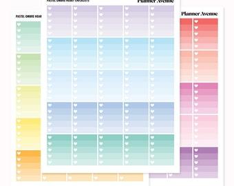 Pastel Ombre Heart Stickers, Checklist, Printable Erin Condren Planner Stickers, Functional Sticker, To do List,Downloadable Planner Sticker